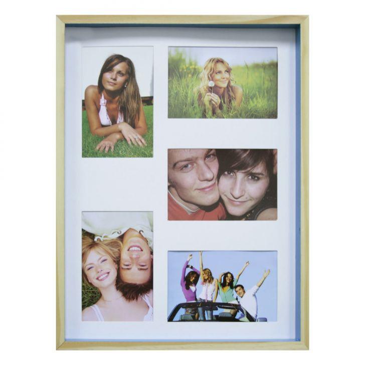 Quadro Para Fotos Wood Natural E Azul 30x40cm