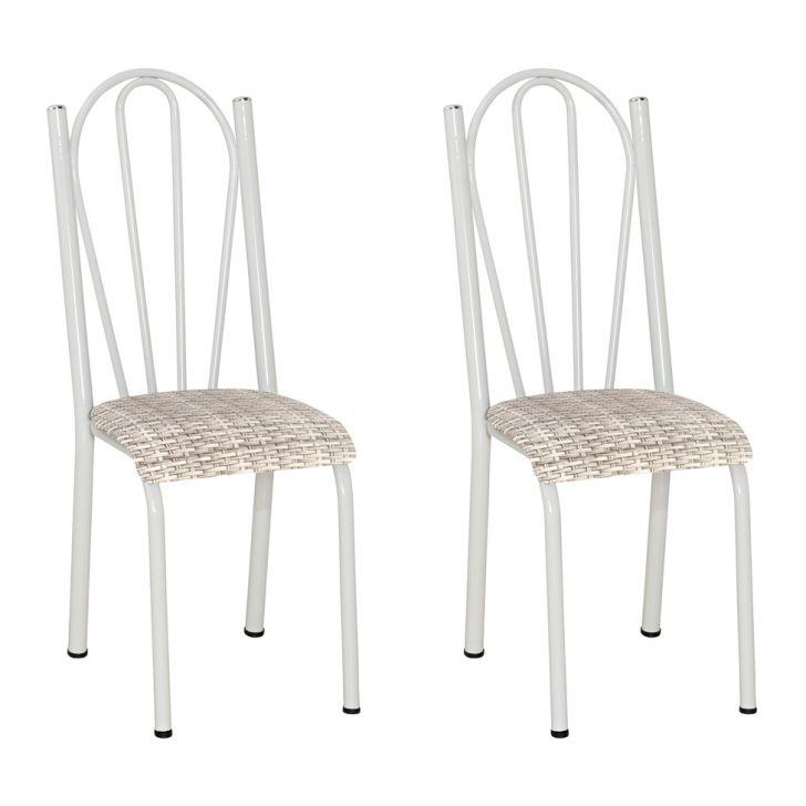 Conjunto 2 Cadeiras Mnemósine Branco E Rattan