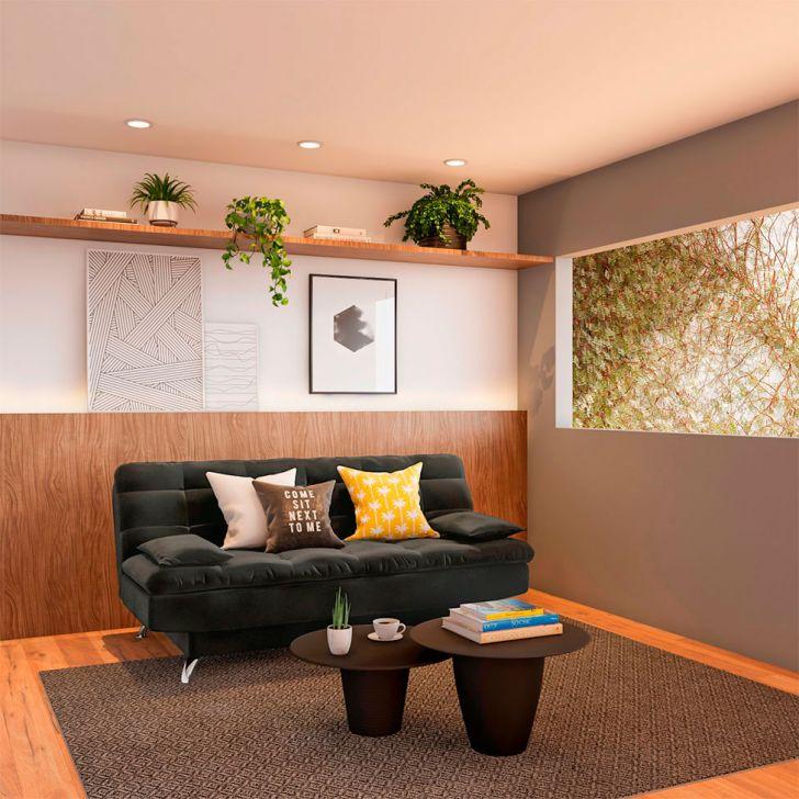 Sofá-cama 3 Lugares Casal Influence Suede Cinza