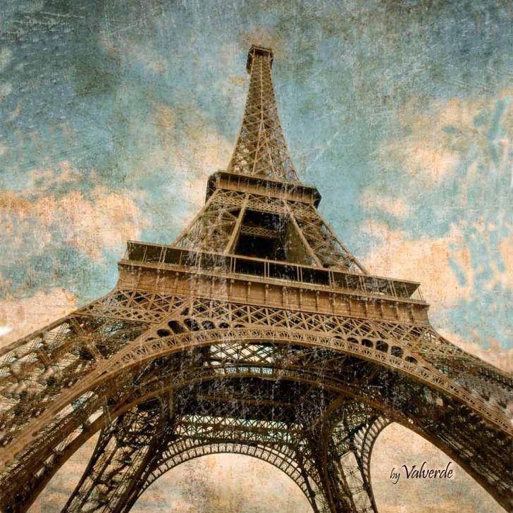 Quadro Impressão Digital Paris Torre Eiffel Ii Bege 30x30cm Uniart