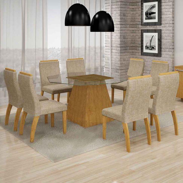 Conjunto de Mesa Grecia com 8 Cadeiras Euro III Imbuia Mel e Bege 140cm Cod: