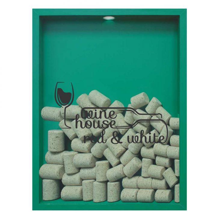 Quadro Porta Rolhas de Vinho Wine House 32x42x4cm Verde em até 1 vezes sem juros! Devolução grátis em até 30 dias.