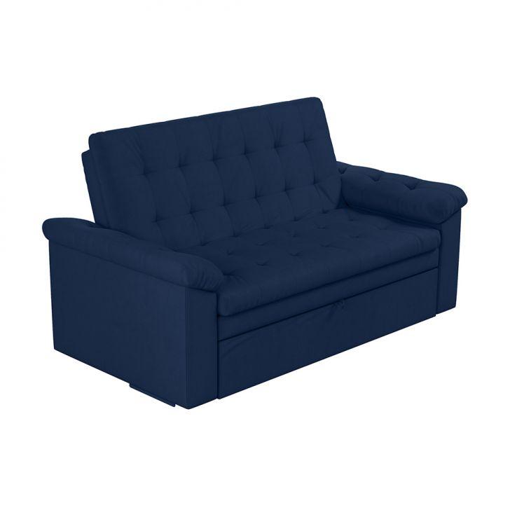 Sofá-cama Casal 3 Lugares Roxane Veludo Azul
