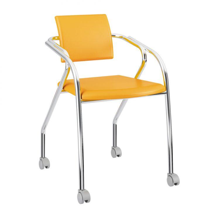 Cadeira De Escritório Cromoda 1713 Amarelo Ouro e