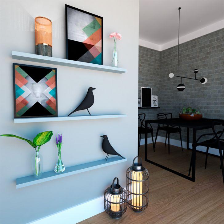 Conjunto Com 3 Prateleiras Ardo Cinza Cristal 90 Cm