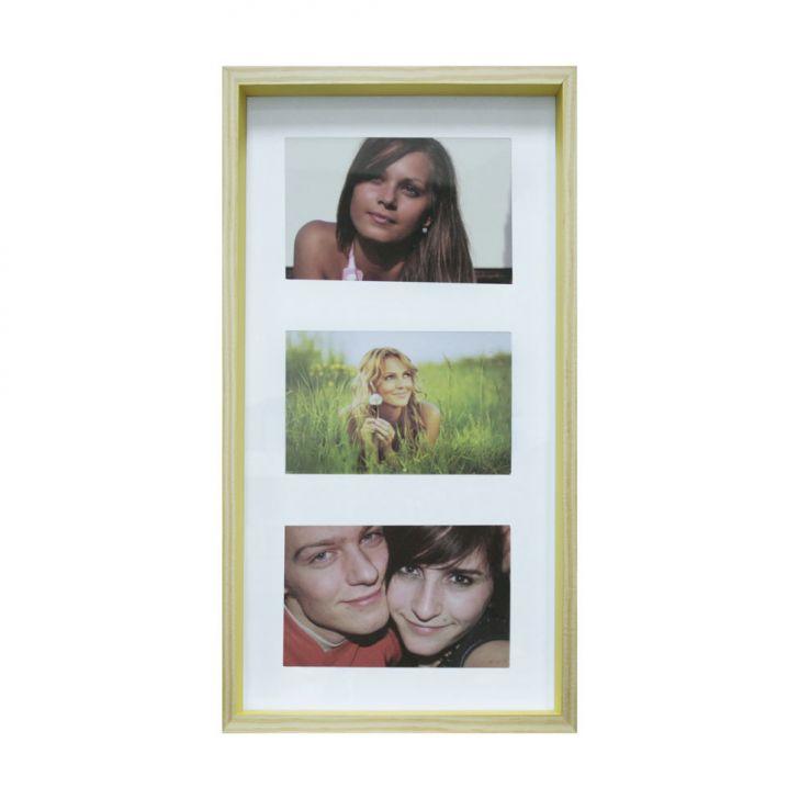 Quadro Para Fotos Wood Natural E Amarelo 20x40cm