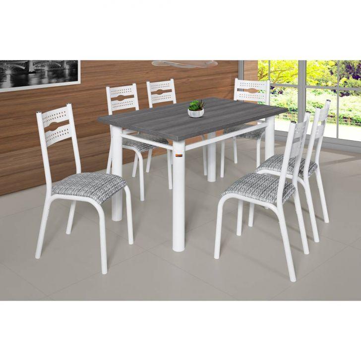 Conjunto de Mesa com 6 Cadeiras de Cozinha Luna III Branco Cod:
