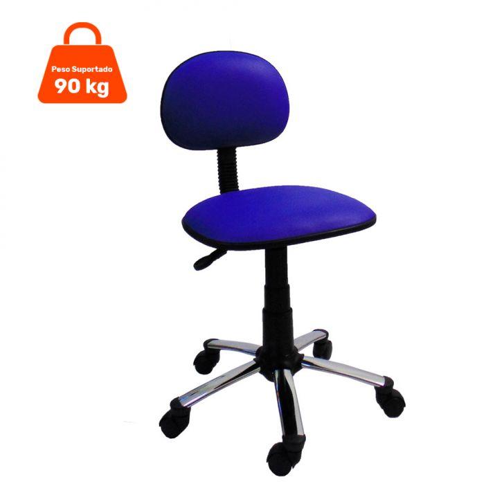 Cadeira de Escritório Secretária Giratória Cromada Korano Azul
