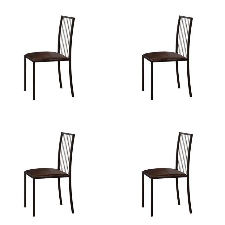 Conjunto Com 4 Cadeiras Atos Couríssimo Marrom