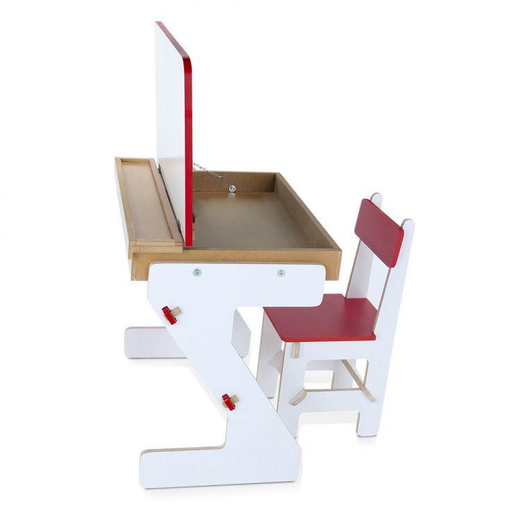 Mesa Versátil 4 Peças Branca E Vermelha