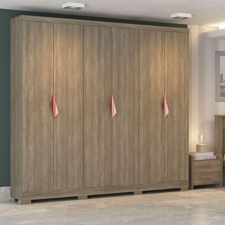 Guarda - Roupa Casal com Espelho F543 - NO 6PT 4GV Nogal e Ouro Rosê Cod:
