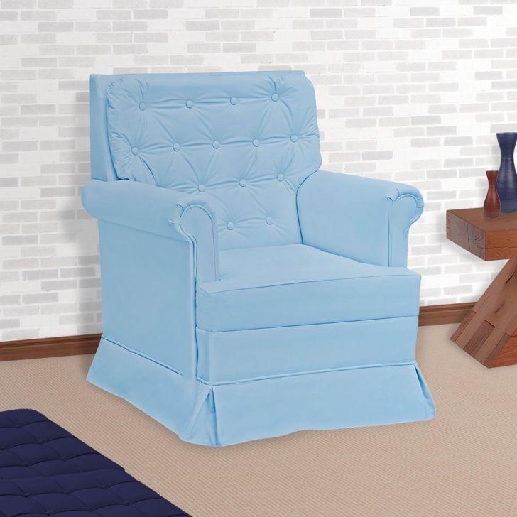 Poltrona Amamentação Giulia Com Balanço Sem Puff Corino Azul