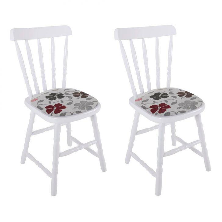 Conjunto 2 Cadeiras De Cozinha Dalas Branca E Florido