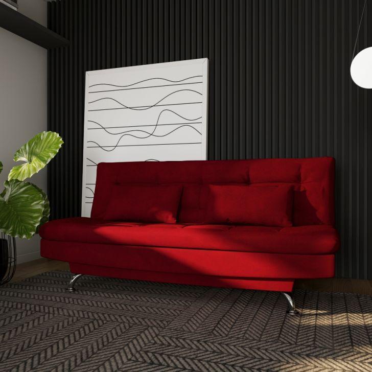 Sofá-cama Casal 3 Lugares Estilo Suede Vermelho