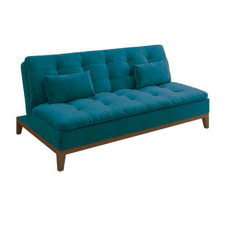 Sofá-cama 3 Lugares Casal Premium Base E Pés De Madeira Suede Azul