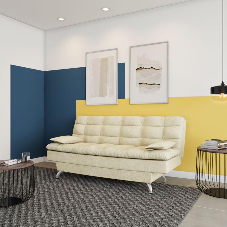 Sofá-cama 3 Lugares Casal Luxo Suede Velvet Bege