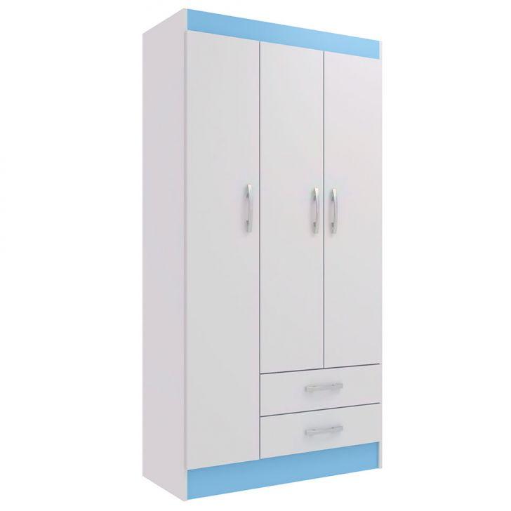 Guarda-roupa Infantil Pitica 3pt Branco E Azul