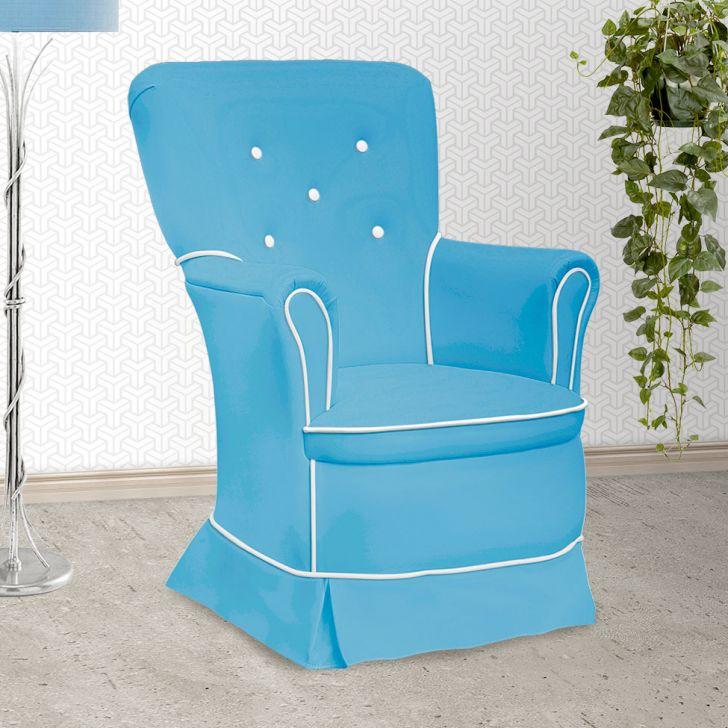Poltrona Amamentação Sofia Com Balanço Azul E Branca