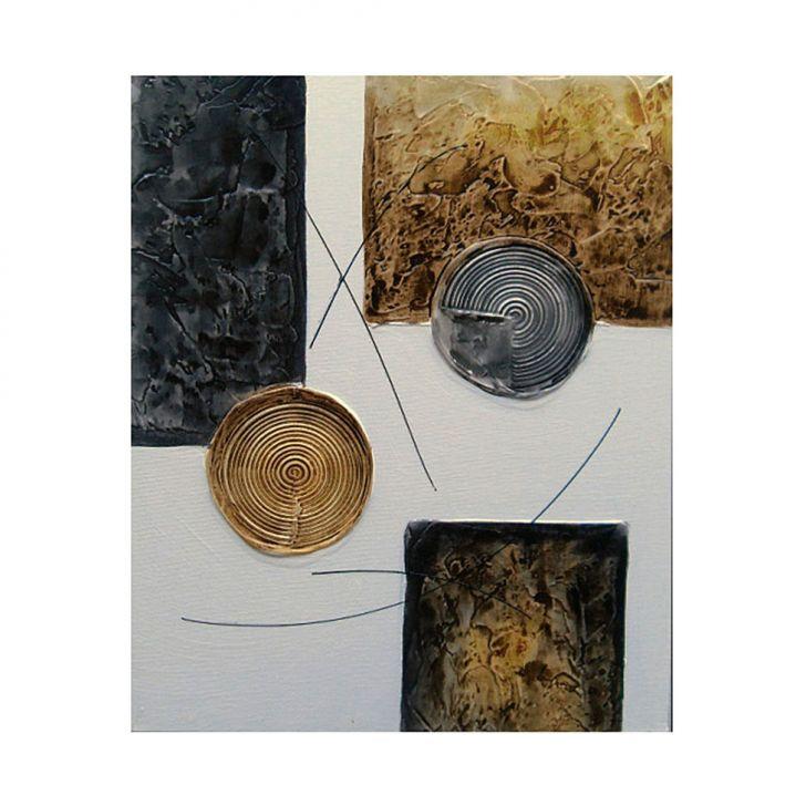 Quadro Artesanal com Textura Abstrato II Marrom 40x50cm Uniart