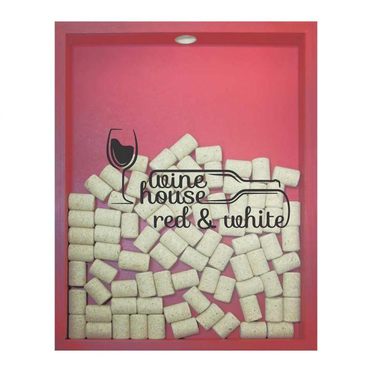 Quadro Porta Rolhas de Vinho Wine House 32x42x4cm Vermelho em até 1 vezes sem juros! Devolução grátis em até 30 dias.