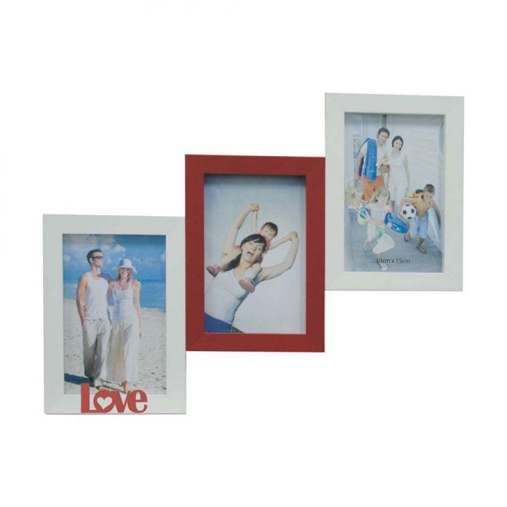 Porta-retrato Love Iii 3 Fotos 10x15cm  Branco, Vermelho Kapos