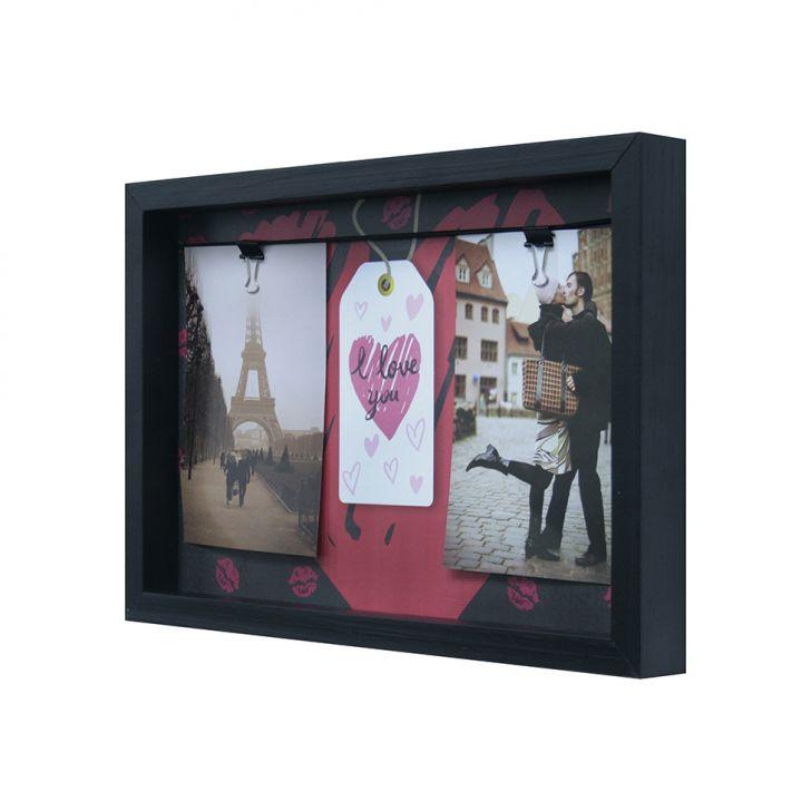Quadro Para Fotos Namorados Tag Varal Colorido 22x32cm