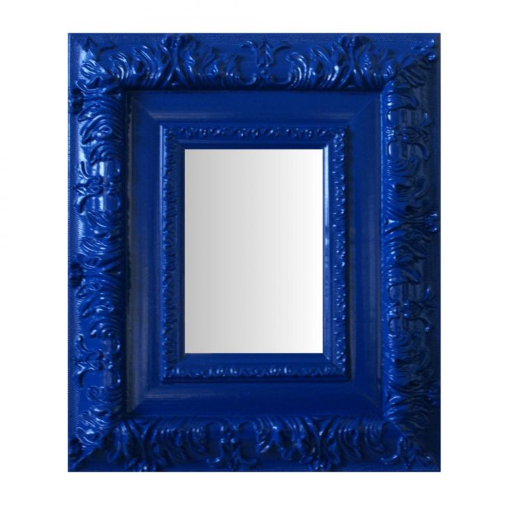 Espelho Moldura Rococó Externo 16249 Azul Art Shop