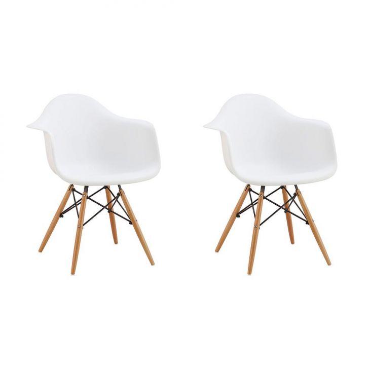 Conjunto Com 2 Cadeiras Eames Eiffel Premium Com Braços Base Madeira Branco