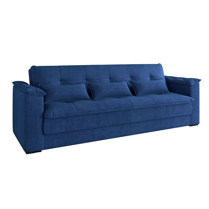 Sofá-cama Casal 3 Lugares Laís Suede Azul