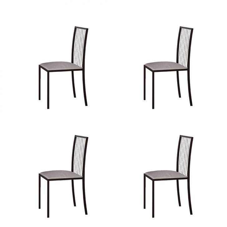 Conjunto Com 4 Cadeiras Atos Linho Bege E Café