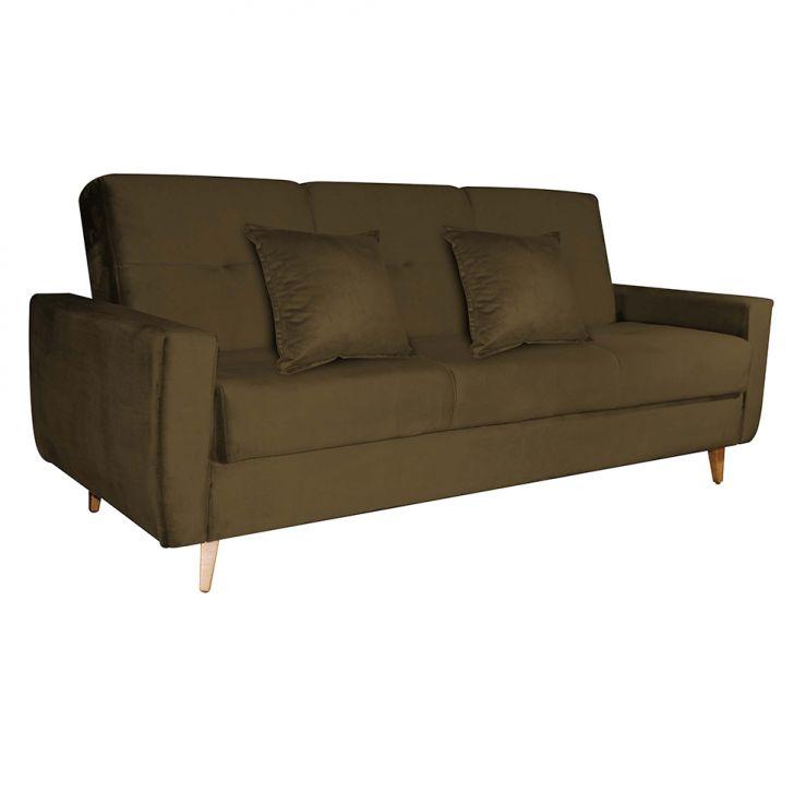 Sofá-cama 3 Lugares Com Baú Pamela Veludo Marrom