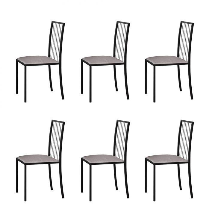 Conjunto Com 6 Cadeiras Atos Linho Bege E Preto