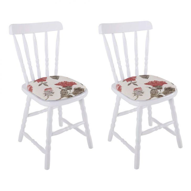 Conjunto 2 Cadeiras De Cozinha Dalas I Branca E Florido