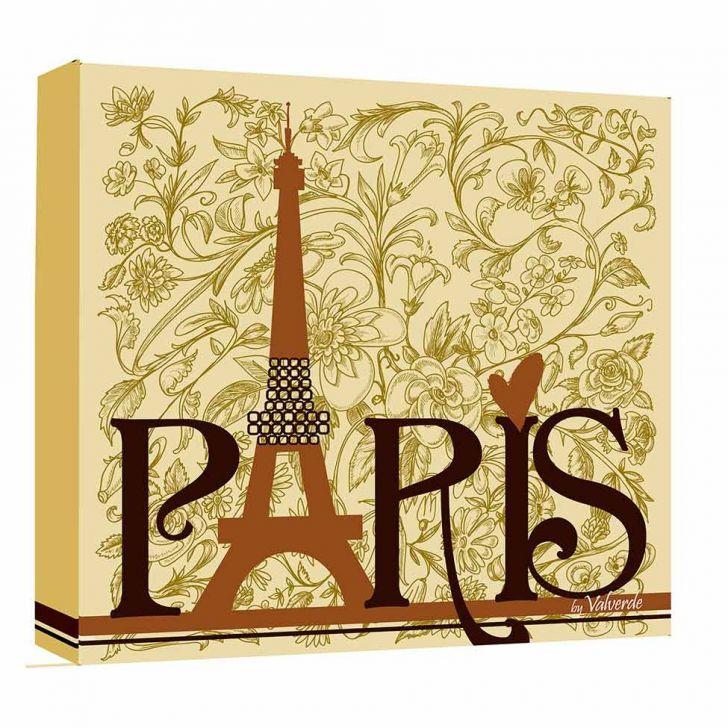 Quadro Impressão Digital Paris Marrom 30x30cm Uniart