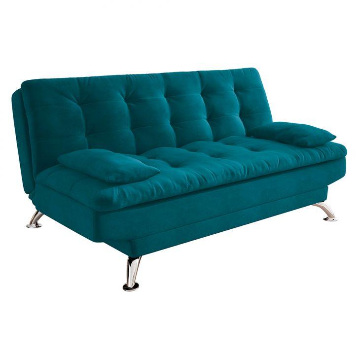 Sofá-cama Casal 3 Lugares Premium A2 Suede Azul Turquesa
