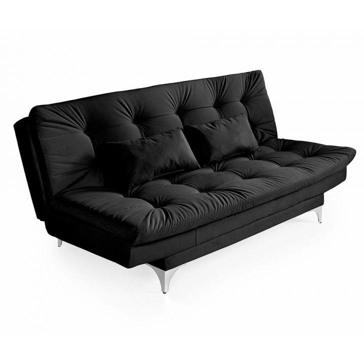 Sofá-cama 3 Lugares Casal Versátil Veludo Liso Preto