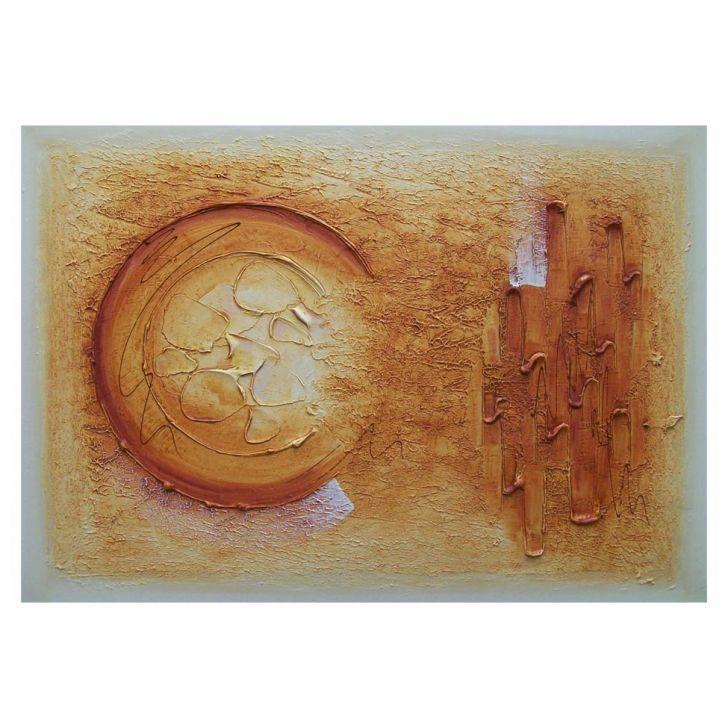 Quadro Artesanal com Textura Abstrato I Amarelo 70x100 Uniart