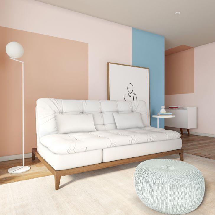 Sofá-cama 3 Lugares Casal Angeline Com Pés De Madeira Couro Sintético Branco