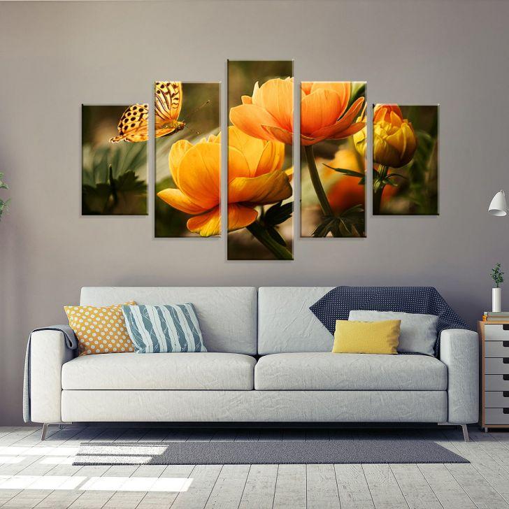 Conjunto de 5 Telas Decorativas em Canvas Rosas Amarelas 90 x160