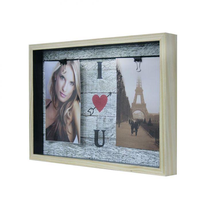Quadro Para Fotos I Love You Varal Colorido 22x32cm
