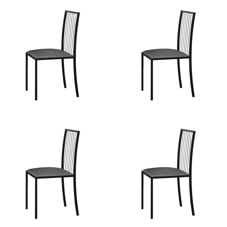 Conjunto Com 4 Cadeiras Atos Linho Cinza E Preto