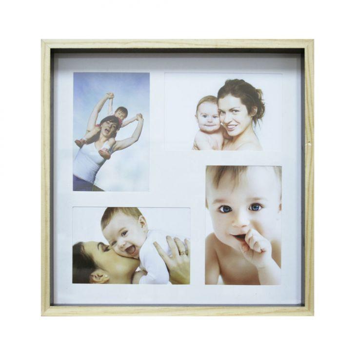 Quadro Para Fotos Wood Natural E Preto 30x30cm