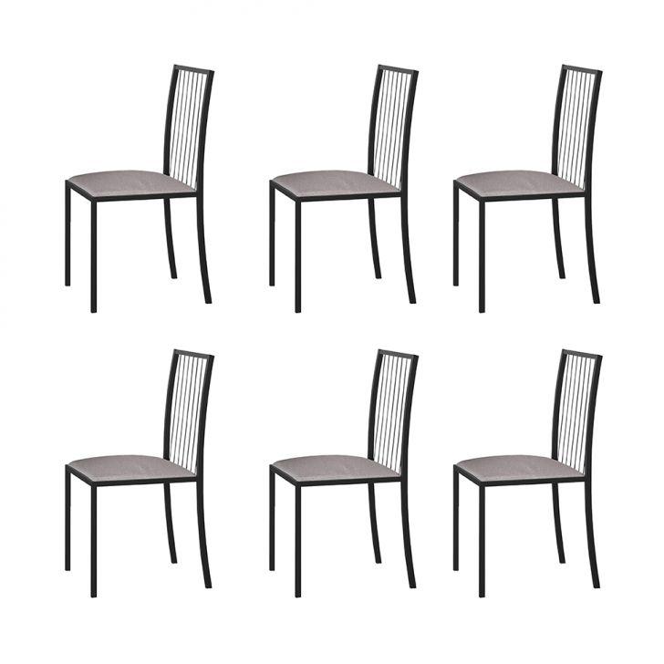 Conjunto Com 6 Cadeiras Atos Linho Bege E Grafite