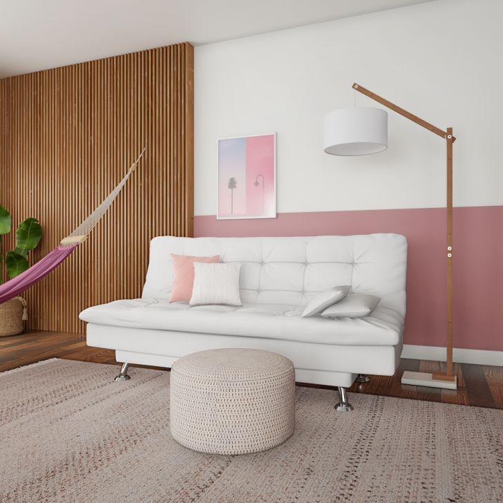 Sofá-cama 3 Lugares Casal Qualidade Couro Sintético Branco