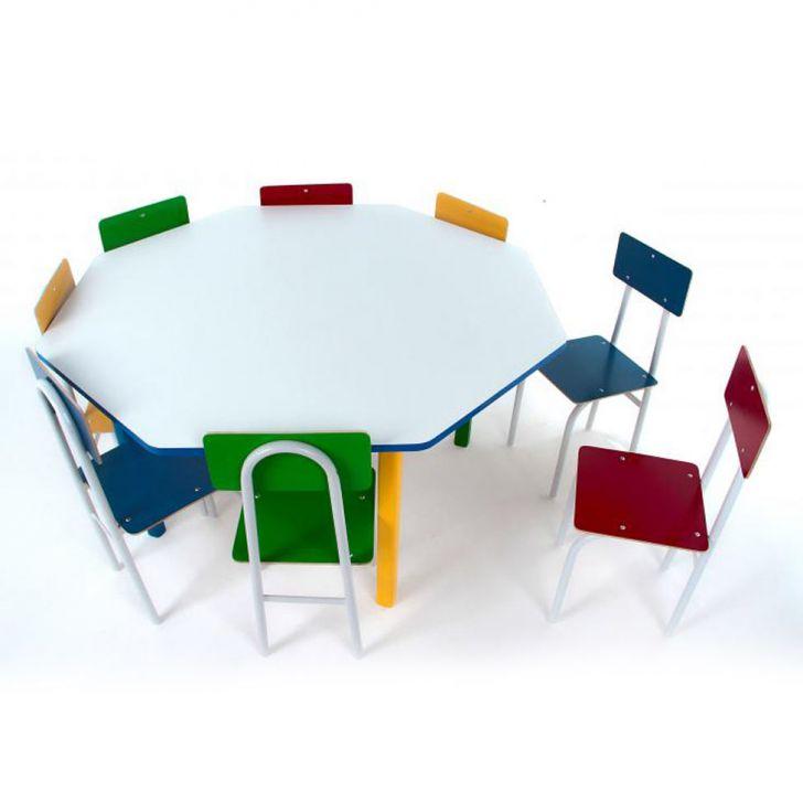 Conjunto De Mesa Oitavada Com 8 Cadeiras Umbridge Colorido