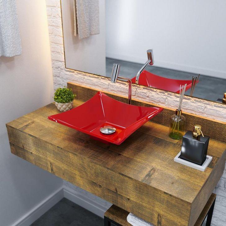 Kit Cuba L34 Com Torneira Link 1062 Metal + Válvula Click 1''g + Sifão Cromado + Flexível Vermelho