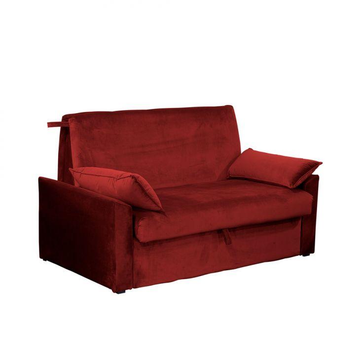 Sofá-cama Casal 2 Lugares Cristal Veludo Com Baú E Almofadas Vinho