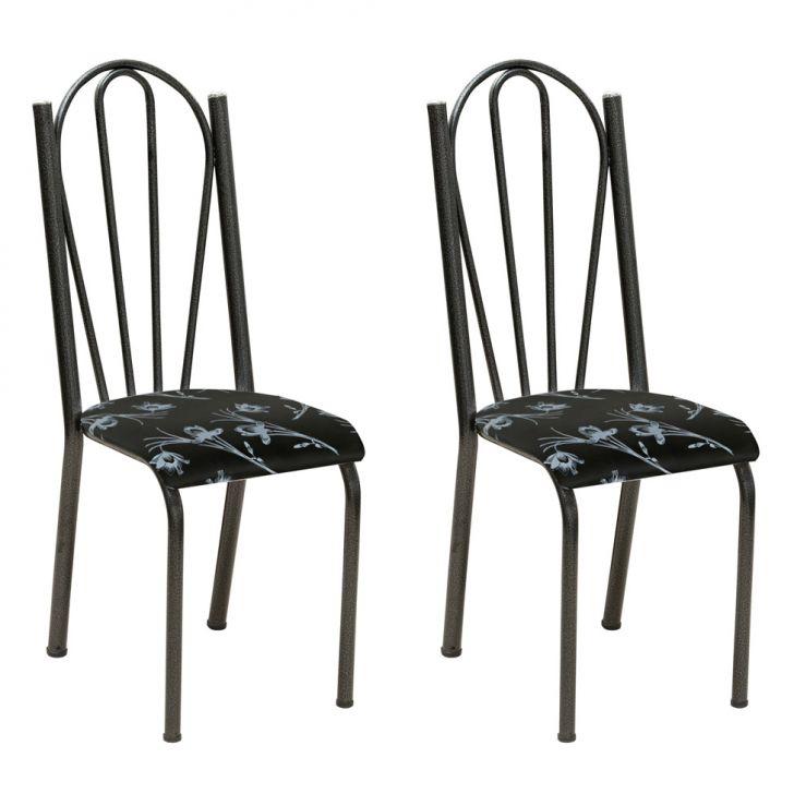 Conjunto 2 Cadeiras Mnemósine Cromo Preto E Preto Flor