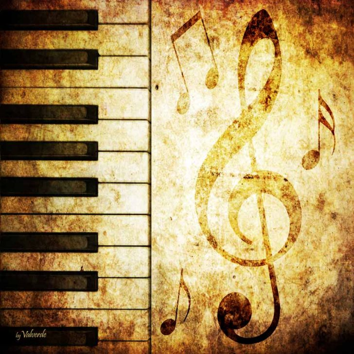 Quadro Impressão Digital Nota Musical Marrom 30x30cm Uniart