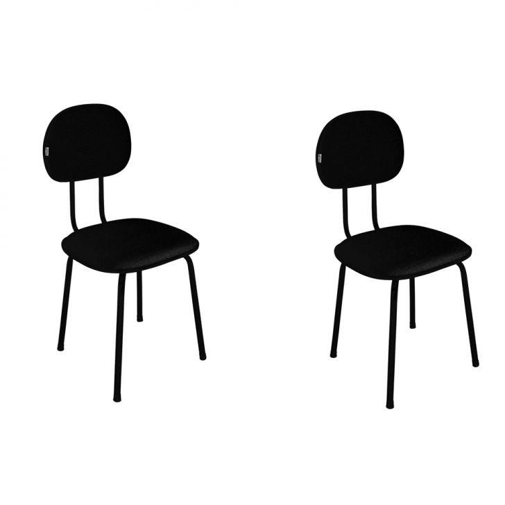 Conjunto Com 2 Cadeiras De Escritório Palito Interlocutor Fixa Tecido Preto